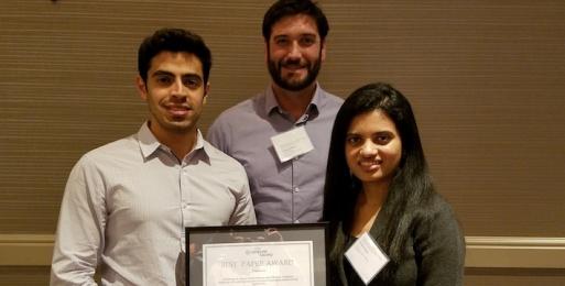 Abdulmajeed Alameer, Sonal Mahajan and Associate Professor William Halfond Win IEEE ICST 2016 Best Paper Award